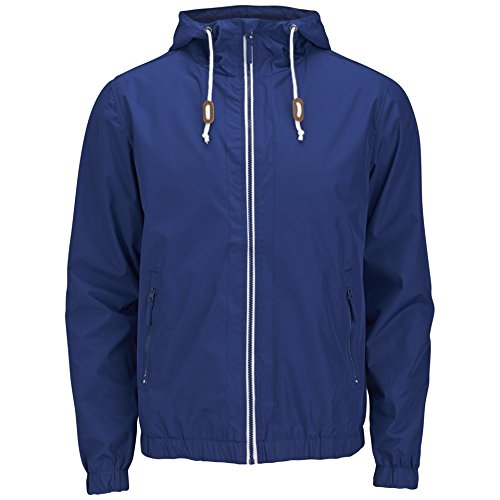 Hommes Veste Pluie Soulstar Coupe-vent Neuf à capuche Léger SContrast Manteau Fermeture Éclair Bleu - Bleu marine
