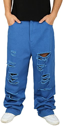 Pizoff Herren Hip Hop Hipster Rap Style Baggy Jeans in mittelblauer Waschung Y1761-02