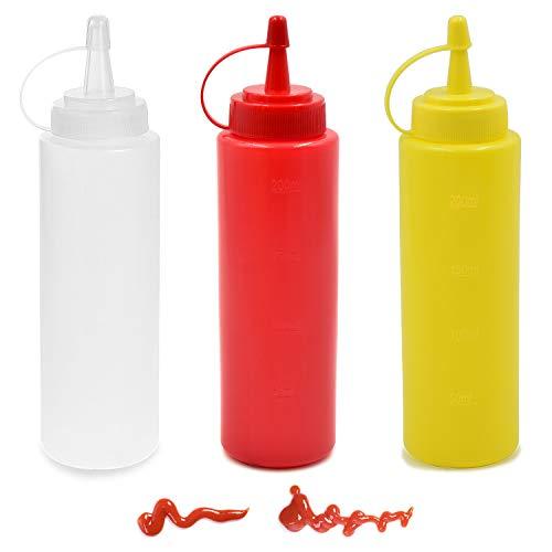 cococity 3pcs Quetschflasche mit Düsen Ketchup 8oz Spender Flaschen 240ml Garnierflasche für Haus, Restaurant, Senf, Mayo, Dressings, Olivenöl, BBQ Sauce- BPA Frei - Top Gießen Olivenöl