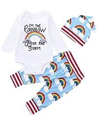 JYC Ropa para Chicas,Conjuntos para niñas,Bebé Niña Chico Arco Iris Mameluco Tops+Mono Pantalones Sombrero Ropa Conjunto