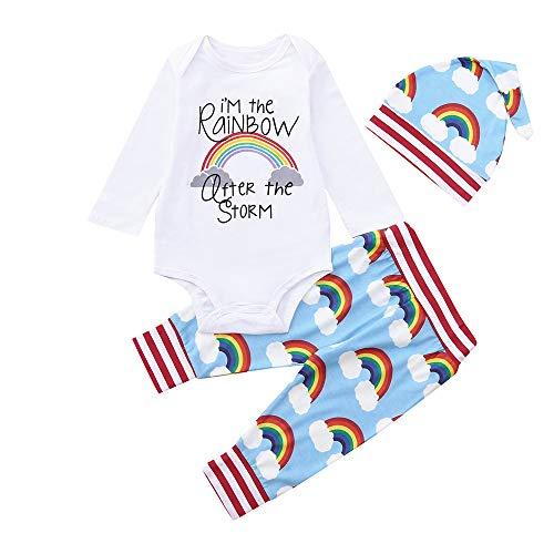 XXYsm Unisex 3pcs Baby Outfits Letter Print Body Strampel + Hosen + Hut Overall und...