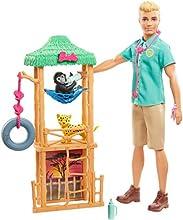 Barbie Métiers coffret poupée Ken Vétérinaire pour animaux sauvages, 2 figurines bébé guépard, petit singe et accessoires, jouet pour enfant, GJM33