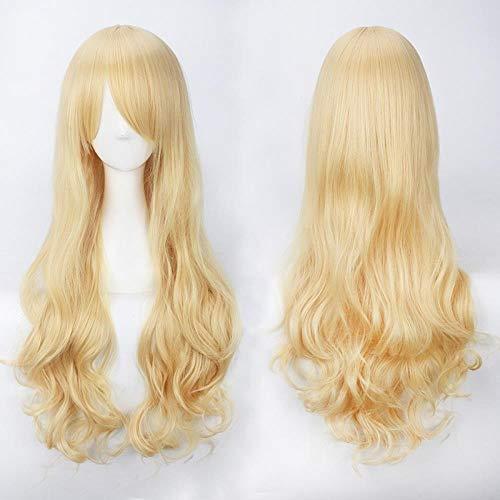 Mode Mädchen Gold blass gold beige lange Perücke langes lockiges Haar Perücke, Gold -