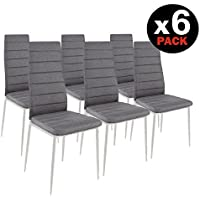 HomeSouth - Pack seis sillas tapizadas tela gris, silla color gris patas metálicas Blancas