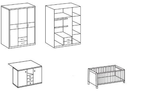 Babyzimmer Jette Set 3tlg. Weiß – Eiche sägerau - 2