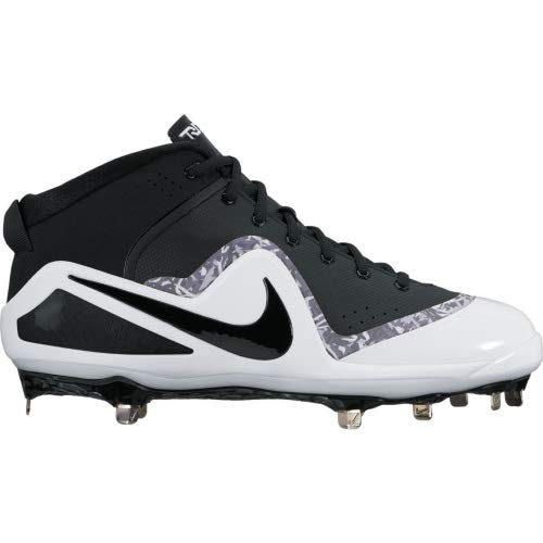 Nike Men's Force Zoom Trout 4 Mid Metal Baseball Cleats (Black/White, 13 D(M) US)
