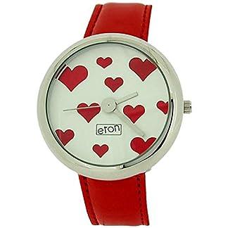 Eton analógica de las señoras de corazones rojos y de plata del color rojo de la correa de la PU vestido 2854J