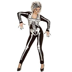 WIDMANN Chica esqueleto traje adulto, overoles, L, negro 49453