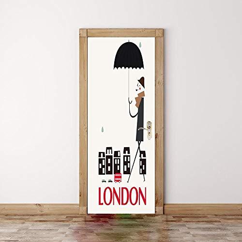 Wetter-vinyl (CFLEGEND 3D Türaufkleber Plakat von wallpaperCartoon Wetter Vinyl PVC dekorative Innentür Fotohintergrund DIY selbstklebend95x215cm)