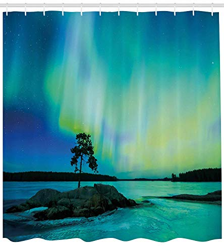 XIAOYI Aurora Borealis Shower Curtain, Single Tree Over Rocky Stone by River Borealis Earth Beauty Image, Cloth Fabric Bathroom Decor Set with Hooks, 60x72 Inches, Teal Blue Lime Green -