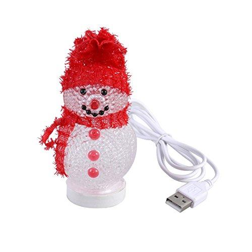 Ledmomo pupazzo di neve led luce di natale decorazione illuminata, 7 colori lampeggianti luce di notte camera da letto lampada da tavolo lampada da comodino decorativa per decorazioni per casa regali di natale (rosso)