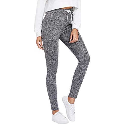 Damen Einfarbig Freizeithose Casual Sweathose Jogginghose Hose Sportswear Style Traininghose Fitness High Waist Lang Sleep Hose Pants Lang Sweathose(Grau,M) -