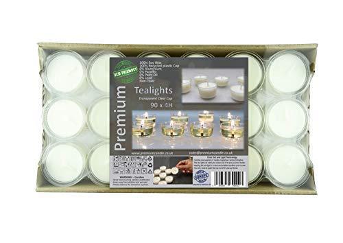 Premium 4+ ore tempo di combustione Coppa trasparente Tea Lights 100% eco-friendly lumini, colore bianco, confezione da 90 candele luci notturne di alta qualità in cera di soia