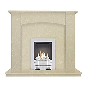 The Camber in Roman Stone with Crystal Diamond Contemporary Gas Fire in Brushed Steel, 48 Inch
