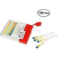 BESTOMZ 0-14 Tiras de Prueba Ph Cuatro reconocimiento de Color 0-14 Medida Líquida Rápida y precisa Ph 100PCS