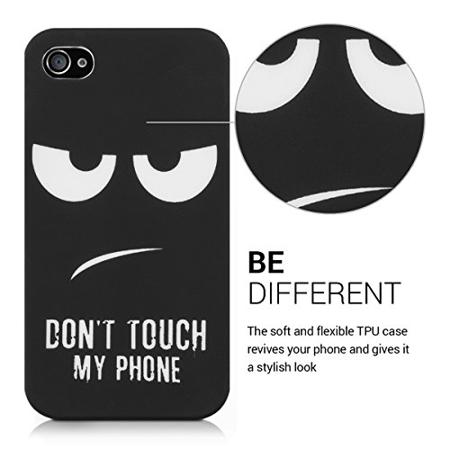 kwmobile Hülle für Apple iPhone 4 / 4S - TPU Silikon Backcover Case Handy Schutzhülle - Cover Don't touch my Phone Design Weiß Dunkelblau Don't touch my Phone Weiß Schwarz