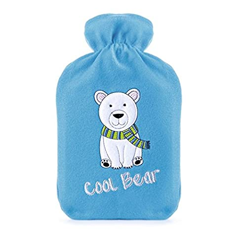 Kids Cool Bear Embroidered Soft Fleece Covered Natural Rubber Hot Water Bottle
