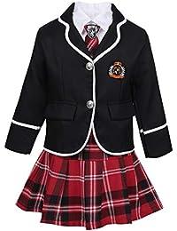 Alvivi 4 Pièces de Costume Enfant Fille Chemise Blanche Cravate Jupe à  Carreaux Manteau Cravate Coton d46834b33c3