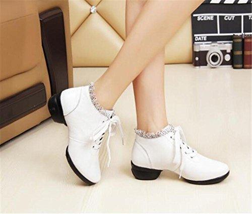 Scarpe da donna Danza in pelle Soft Split Sole Jazz moderno Laces Taglia 36To40 white