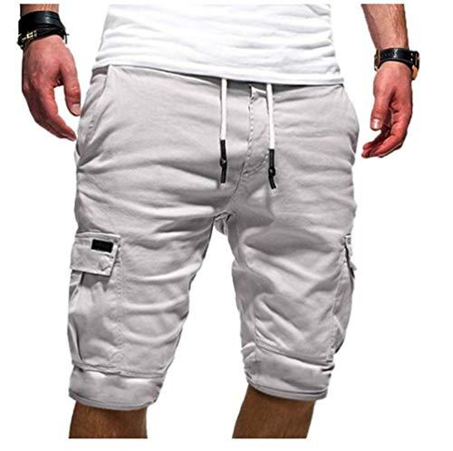 Cindeyar Herren Cargo Hose Shorts Sommer Bermuda Kurze Hose Chino Jogger Hose(Weiße.3XL)