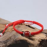 SimpleLife Red String Bracelet, Handmade Bracciale Buddista Tibetan Agates Beads Lucky Bangles for Protection Unisex