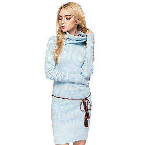 GWELL Damen Elegant Strick Pullover Langarm Kleid Strickkleid mit Rollkragen Rock Herbst Winter hellblau