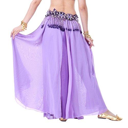 YouPue Bauchtanz Taille Kette Damen Tanzkostüm Bekleidung Zubehör Bauchtanzkostüme Bauchtanzperformance Kostüm BH Gürtel Rock Anzug Rock sexy indischen Tanz gehobenen Komfort Gürtel Kostüme Light Purple Dark Purple (Traditionellen Indischen Tanz Kostüm)