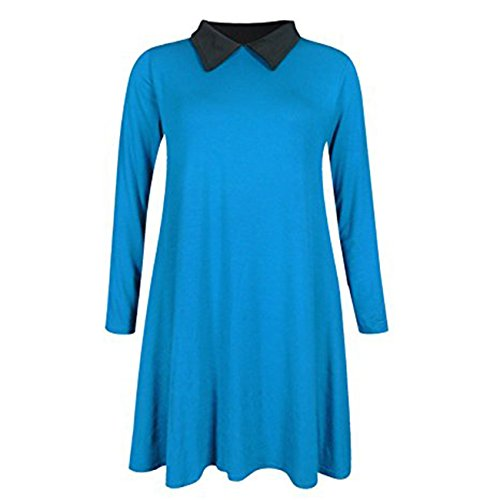 Friendz Trendz-Les femmes à manches longues Plus Size Peter Pan Skater collier Flared Swing Dress TRUQ