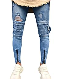 d0ca0f2184 ALIKEEY Hombre✌ Slim ✌Biker✌ Cremallera Denim Jeans Skinny Frayed Pants  Distressed Rip Trousers Hole Zippered Tachuelas PantalóN…