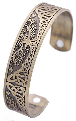 VASSAGO Pagan Yggdrasil Tree of Life Norse Mythology Magnetic Health Cuff Bracelet Men Women Jewelry