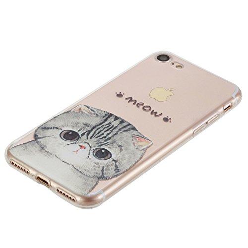 Ekakashop iphone 7 4.7 Custodia , Ultra Thin Fit Slim Transparente Clear Soft Gel TPU Silicone Moda Colorate Morbido impermeabile Protettivo Bumper Protezione Cover Case Custodia Per Apple iphone 7 ( Gattino