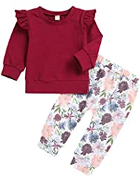 Borlai Trajes de bebé Newborn Toddler Ruffled Sleeve Top + Floral Print  Pants 2pcs b2210b3bcec13