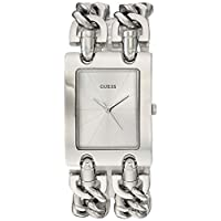 GUESS Silver-Tone Multi-Chain Bracelet Watch with Self-Adjustable Links. Color: Silver-Tone (Model: U1117L1)
