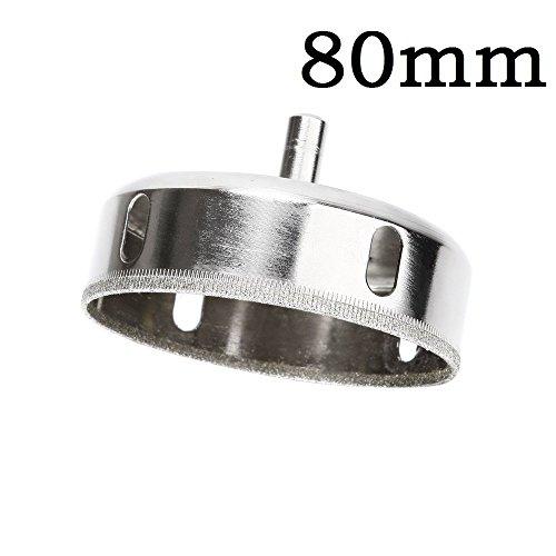 Agile-shop Diamant-Lochsäge, Fliesen, Keramik, Glas, Porzellan, Marmor, Bohrer, Glass Hole Saw, silber, 80 mm