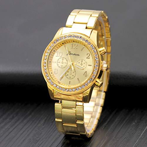 WOSOSYEYO Reloj de Hombre Reloj de Cuarzo con Correa de Acero de Tres Ojos Falsos con Diamantes. Reloj...