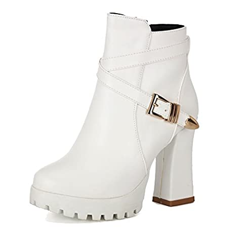 VogueZone009 Women's Solid High-Heels Round Closed Toe PU Zipper Boots, White, 34