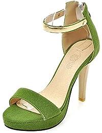 Coolcept Mujer Moda Al Tobillo Sandalias Punta Abierta Slingback Planos Zapatos (33 EU, White)