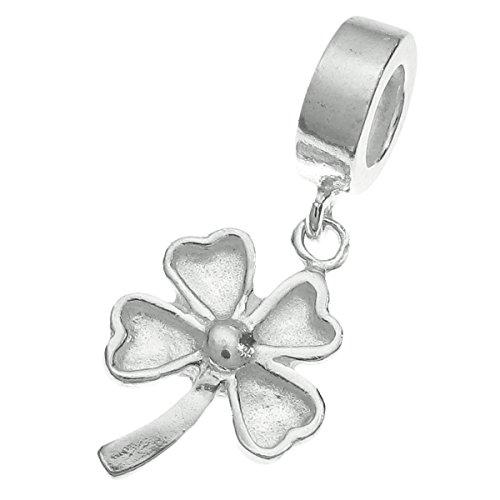 Pendente a forma di quadrifoglio portafortuna in argento sterling 9254foglie per braccialetti europei