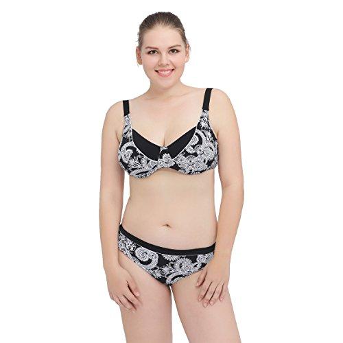SHISHANG Große Bikini Badeanzug Damen Bademode Mode Europa und den Vereinigten Staaten schnell trocknend hoch-elastischen Split weiblichen Badeanzug mehrfarbig black and white