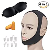 2018 anti-ronflement kits de sommeil naturel, CPAP sangle | Nez Vent | Masque de sommeil 3D | Bouchons d'oreilles pour hommes, femmes et enfants (lot de 4)