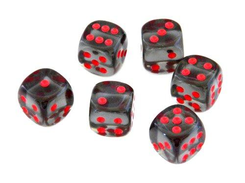 """6 Würfel von Chessex - 16mm (""""Standardgröße"""") Transparent/Kristall, Rauch mit Rot / Smoke with Red"""