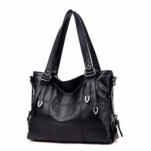 Grande capacità di borsa a tracolla moda casual borsetta, nero Nero