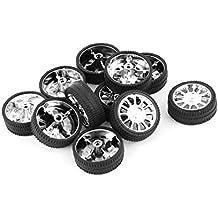 sourcingmap® 10 piezas de RC Vehículo de goma cubierta de la rueda del robot de coches de juguete de bricolaje 26mm Dia Llantas Negro