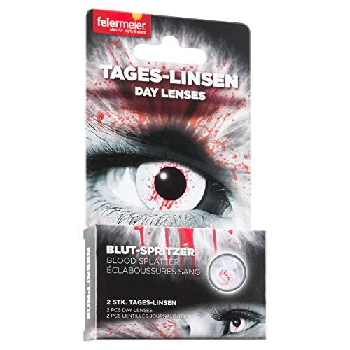 feiermeier® Kontaktlinsen (Tageslinsen) ohne Stärke (1 Paar = 2 Stk.) - für Halloween, Fasching & Co. (Blutspritzer)