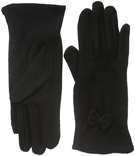 nümph Dea-Roma Wool Gloves, Guanti Donna, Schwarz (Caviar W/Bow), X-Small