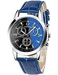 Toamen Moda De Lujo Faux Leather Relojes De Cuarzo para Hombre (A)