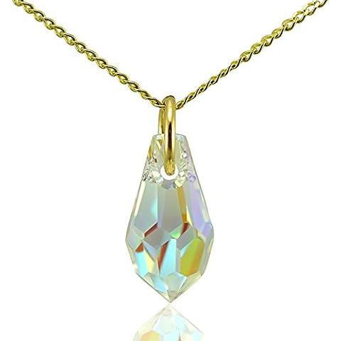 Jewellery-Joia - Ciondolo per collana a forma di goccia, in oro massiccio a 9k e cristallo Swarovski, per collane lunghe 40,5, 45,5 o 51 cm, colore: Bianco trasparente