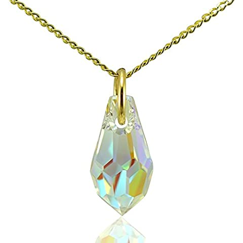 Solid 9ct Gold Tear Drop Pendant & 18
