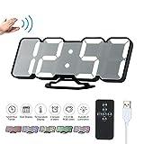 Decdeal Horloge Murale LED 3D Réveil Numérique Électronique USB sans Fil RVB...