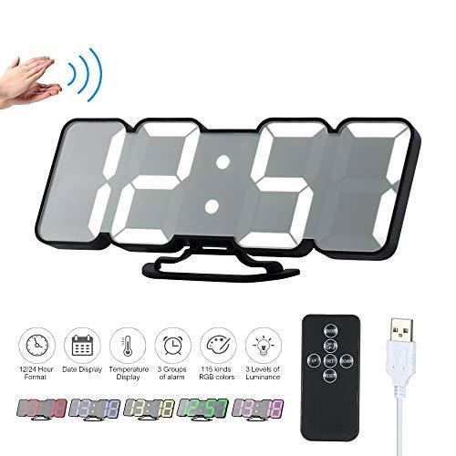 Decdeal Horloge Murale LED 3D Réveil Numérique Électronique USB sans Fil RVB Réveil à Affichage Horloge de Bureau de...